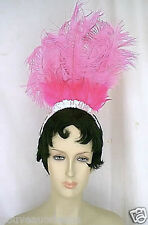 """12"""" Tall Shades of Pink Ostrich Feathers and Pink Aurora Sequin Trim Headpiece"""