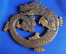 Chinese Gold Dragon Wall Hanging, Carved Wood, 20cm long Fair Trade NEW