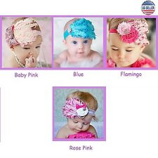 3 pcs Baby Flower Feather Elastic Hairband Headband Toddler Girls US Stock