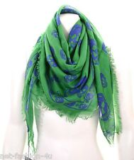 ALEXANDER McQUEEN CLASSIC GREEN & BLUE SKULL PASHMINA SCARF BOLD COLOURS BNWT