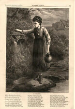At the Spring  -  with Poem  -  Young Lady    -  1875