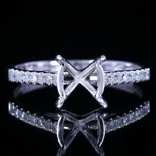 14K White Gold Semi Mount 7-8mm Round Real Diamond Solitaire Women Wedding Ring