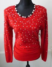 Emanuel Ungaro NWT Vintage Sequin Beaded Red Sweater Size Med. Large Retail $980