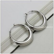 Women's Sleek Surgical Stainless Steel Grade Hypoallergenic Silver Hoop Earrings