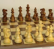 "NATURAL WOOD CHESS SET - WALNUT/MAPLE BOARD 17¼"" - WEIGHTED K=3¾ (ww 37slc-wc)"