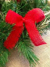 set of 15 red burlap bows  christmas holiday ornaments