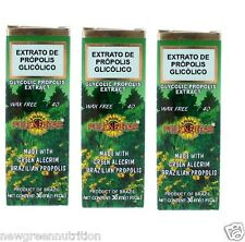 3 Bottles of Polenectar Brazil Premium Bee Propolis Extract Wax Free 40 (30ml)