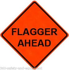 "Flagger Ahead 48"" X 48"" Vinyl Fluorescent Roll Up Sign With Ribs"