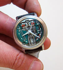 SERVICED 214 ACCUTRON SPACEVIEW STAINLESS STEEL TUNING FORK MEN'S WATCH M7