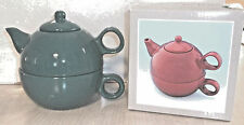Forest Green Tea For One Teapot Cup Tea for Me Pot Pottery