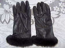 ladies vintage black fur trim leather gloves - size L