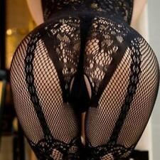 Sexy Black Fishnet Crotchless Stocking Suspender Body stocking Lingerie Baby VF7