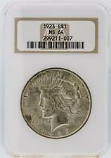 1923 Ngc Ms64 Peace Silver Dollar Lot 67