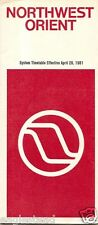 Airline Timetable - Northwest Orient - 26/04/81 - First Class Sleeper Seat