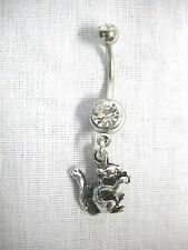 FUN WOODS ANIMAL WILDLIFE 3D SQUIRREL CHARM 14g CLEAR CZ NAVEL BAR BELLY RING