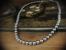 Vintage Rosita Signed 6mm Grey Pearl Strand Necklace with Adjustable Chain