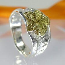 A692 Goldschmiede Unikat Ring Blume 925 Silber 585 Gold Schmuck Handarbeit