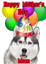 Siberian Husky Dog Mother's Day Card Party Hat chmd280 A5 Personalised Greetings