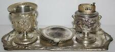 Early 1950s Silver Plated Ash Tray Set Made in Occupied Japan -FREE P&P [PL1469]