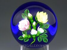 1997 Ken Rosenfeld Studio Art Glass PAPERWEIGHT ROSE FLOWER BOUQUET BLUE GROUND