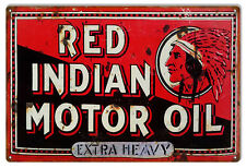 "Reproduction Aged Red Indian Motor Oil Sealed For Your Protection Sign. 12""x18"""