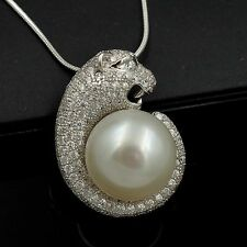 13 m White Freshwater Pearl CZ 925 Sterling Silver Pendant Chain Necklace 05179