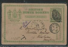 NORTH BORNEO (P2707B) 1893 1C/8C PSC SHORTPAID TAXED TO HONG KONG