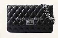 Classic New Black Real Leather Quilted Cross Body Clutch Bag SheepSkin