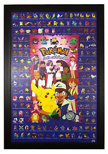 "Pokemon, Gotta Catch them All Pikachu Characters 24""x36"" Framed Poster (C1-1007)"
