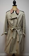 BROOKS BROTHERS Classic Khaki Double Breasted Trench Coat Wool Liner Sz 40 R