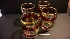 Vintage original mid century design set 4 glasses cranberry gold ring atomic era