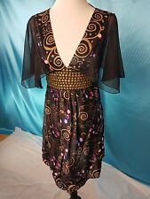 Uttam London Dress Party Cocktail Casual Black Red Size UK10 Good condition
