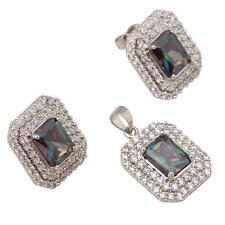PRETTY Silver/Rhodium Plated MYSTIC TOPAZ/CZ EARRINGS & PENDANT SET