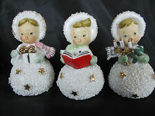 3 Vintage Semco, Japan Christmas Girl Bell Figurines, Snow Balls, Gold Stars