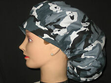 Surgical Scrub Hats/Caps Halloween Ghosts hidden in camo black/gray and white