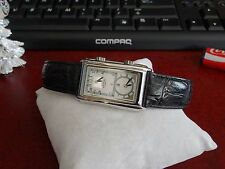 Rotary Dual Time Quartz Mens Watch w/ Case & 19mm Leather Band!