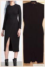 Zara Designer Cross Over Black Midi Dress, Smart Wear, Skirt, Top, Long Sleeve