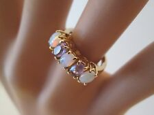 Vintage 14K Yellow Gold Amethyst and Opal Ring Size 4.25