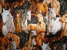 Horse Fabric, Cotton Fabric, Quilting and Sewing,  Animal Print, Country Ranch