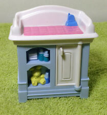 1999 Fisher Price Loving Family Baby Diaper Changing Table -- Blue White Pink