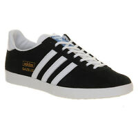 Mens Adidas Gazelle Og BLACK WHITE METALLIC GOLD Trainers Shoes