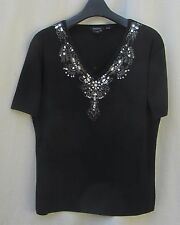 3X RADZOLI Black Fine Knit Sweater Beaded GLAM Neckline SUMMER $6 SH Rayon BLD