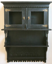 VICTORIAN AESTHETIC EBONIZED INTRICATELY DESIGNED WALL HANGING CABINET BATHROOM