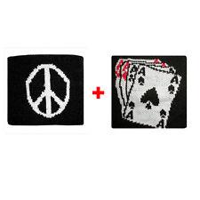 Coppia polsini pace + carte da gioco in spugna gruppi rock e bandiere