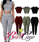 New Womens Ladies Fine Knit Crop Top and Leggings Set Tracksuit Lounge Wear 8-14