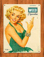 "TIN-UPS TIN SIGN ""Weed Cigarettes Pin-Up"" Marijuana Menthol Woman Wall Decor"
