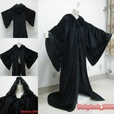 New Black Cape Hooded Cloak Renaissance Wizard Robes Halloween wedding