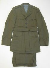 USMC Vintage Officer Dress Alpha Green Jacket Military Uniform Coat 39 Pants 28