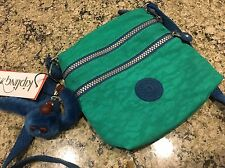 New Kipling Keiko Monkey Hipster Handbag Purse Green Blue Cross Body 3 Pkt Bx21