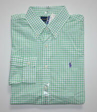 NWT Men's Ralph Lauren Casual Long-Sleeve Shirt, Green, White, L, Large